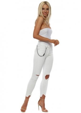 White Skinny Chain & Diamond Rip Jeans