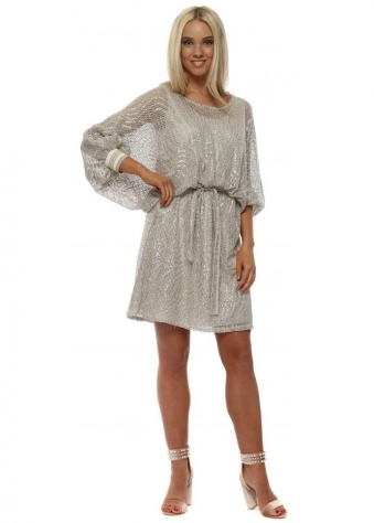 Beige Metallic Knit Batwing Dress