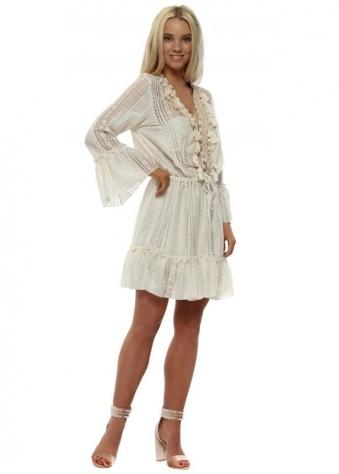 Cream Lace Mini Dress With Tassels