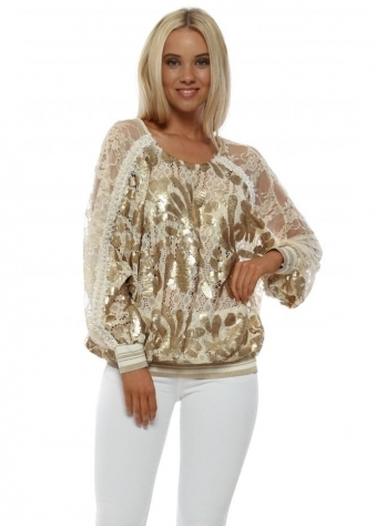 Cream Sequinned Lace Pearl Trimmed Top