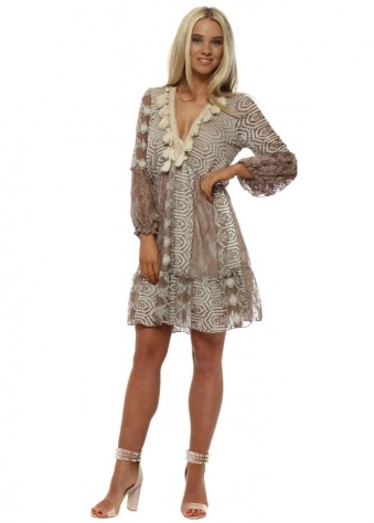 Taupe Lace Mini Dress With Tassels