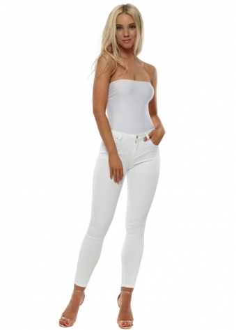 White Stretch Fit Zip & Bow Skinny Jeans