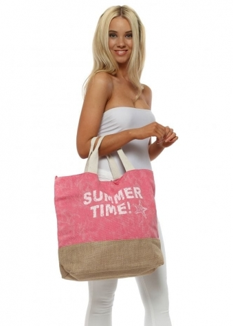 Pink Summer Time Oversized Canvas Tote Bag