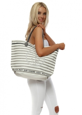 Grey Anchor Stripe Woven Oversized Beach Bag