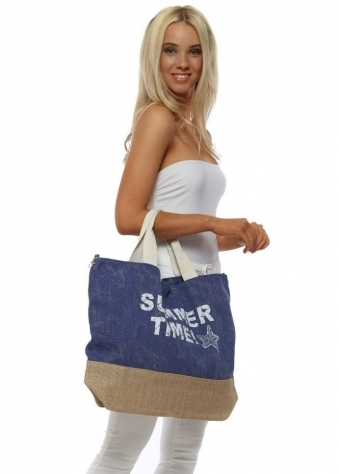 Blue Summer Time Oversized Canvas Tote Bag