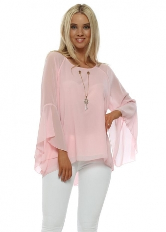 Candy Pink Gold Key Necklace Blouse