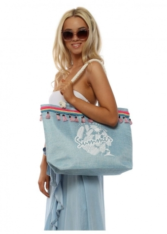 Light Blue Best Summer Tassel Woven Beach Bag