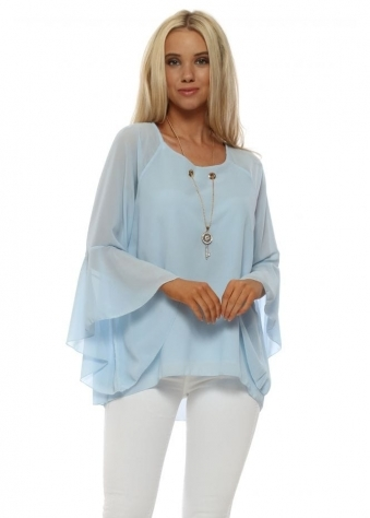 Baby Blue Gold Key Necklace Blouse