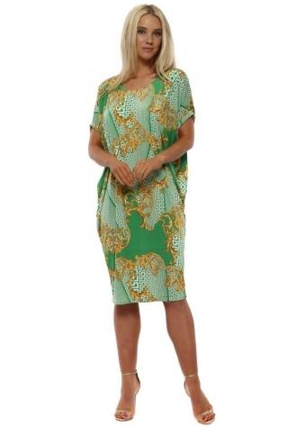 Green Scarf Print Midi Dress