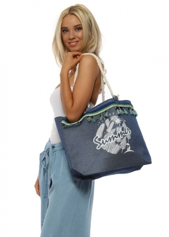 Denim Blue Best Summer Tassel Woven Beach Bag