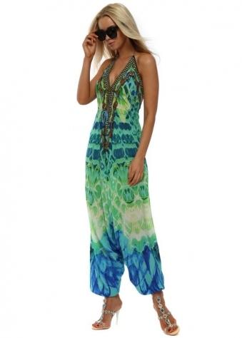 Paros Aquamarine Print Halterneck Jumpsuit