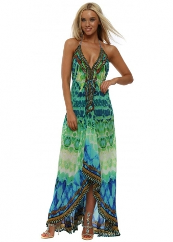 Paros Aquamarine Print Crystal Halterneck Maxi Dress