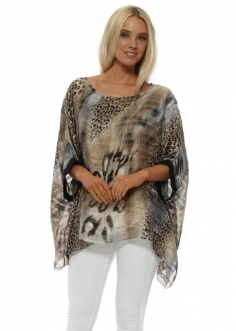 Brown Animal Print Sequin Cuff Kaftan Top