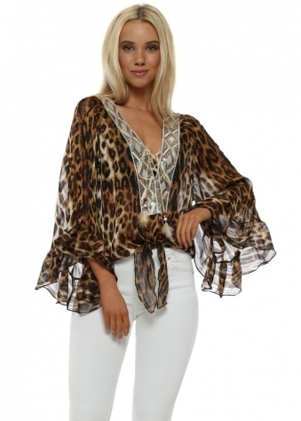 Leopard Print Gold Sequinned Blouse