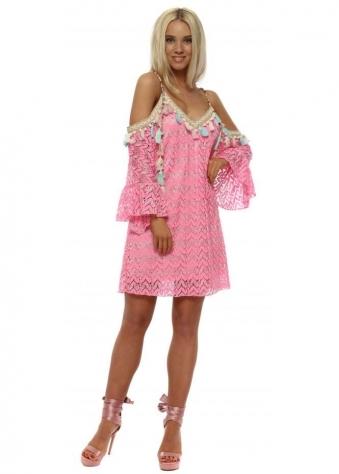 Candy Pink Lace Cold Shoulder Dress