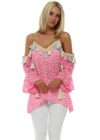 Candy Pink Lace Cold Shoulder Top