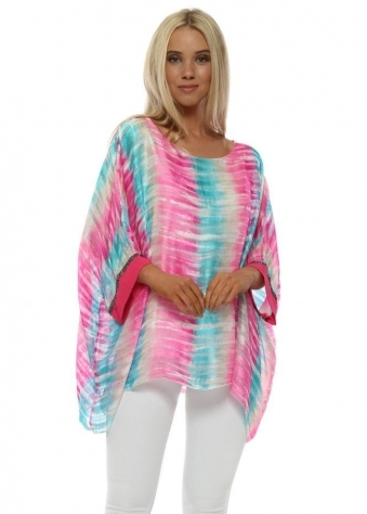 Pink & Turquoise Tie Dye Sequin Cuff Top