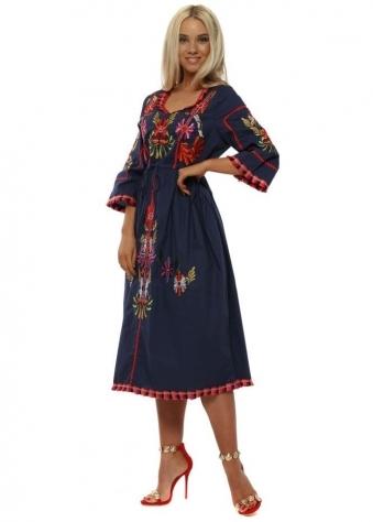 Navy Embroidered Cotton Prairie Dress