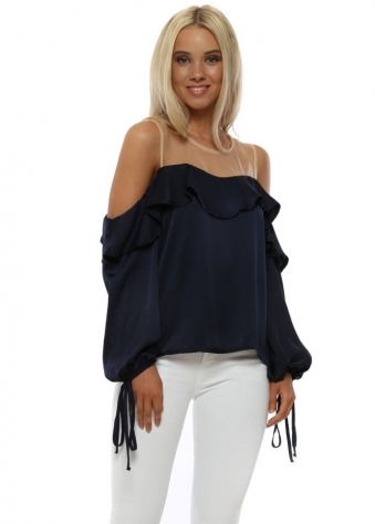 Navy Sateen Ruffle Cold Shoulder Blouse