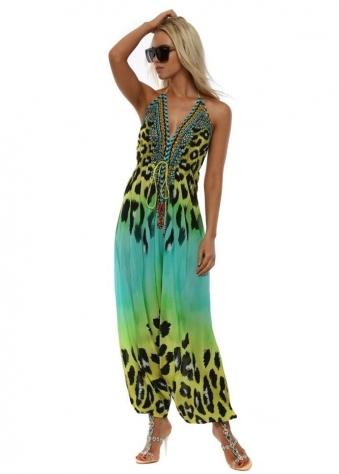Syros Aquamarine Leopard Print Halterneck Jumpsuit