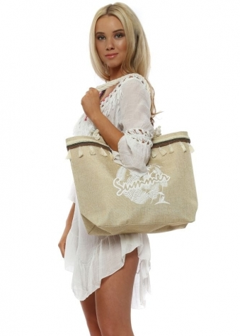 Beige Best Summer Tassel Woven Beach Bag