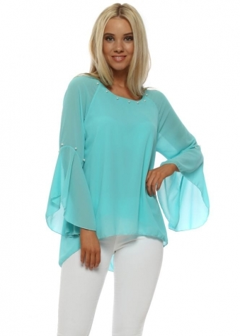 Turquoise Pearl Embellished Layered Blouse