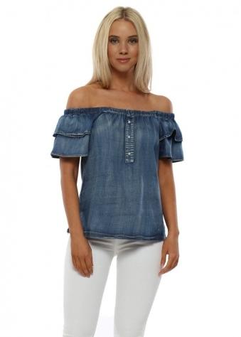 Denim Blue Cotton Bardot Top