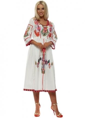 White Embroidered Cotton Prairie Dress