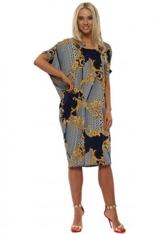 Navy Scarf Print Midi Dress