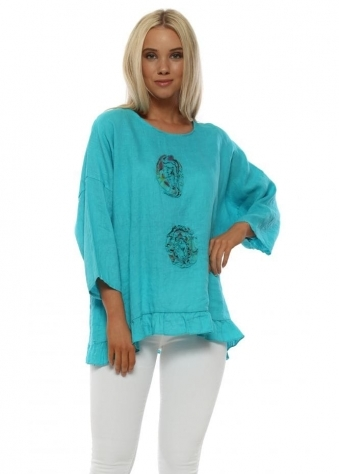 Turquoise Floral Rose Applique Top