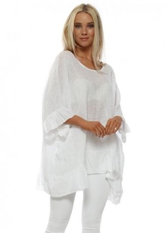 White Linen Frill Sleeve Oversized Top