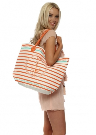 Orange Anchor Stripe Woven Beach Bag