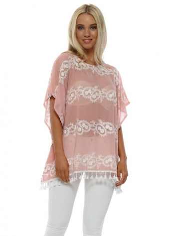 Blush Pink Embroidered Lace Tassel Top