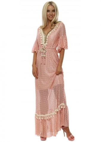 Pink Knit Pearl Sequin Maxi Dress