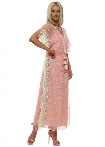 Pink Star Mesh Maxi Kaftan Dress