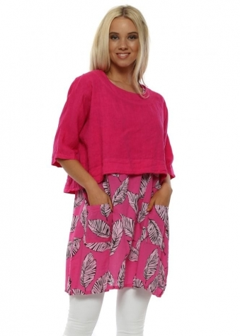 Hot Pink Leaf Print Two Piece Tunic Top
