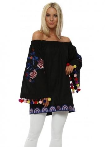 Black Floral Embroidered Pom Pom Top
