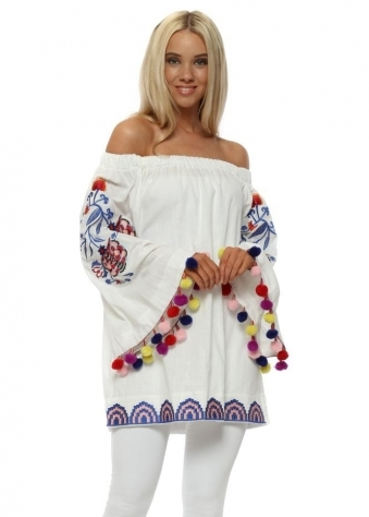White Floral Embroidered Pom Pom Top
