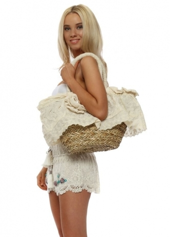 Cotton Lace Pearl Rose Basket Bag