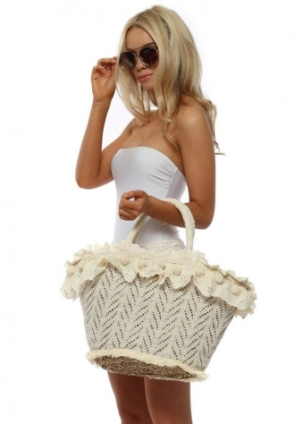 Cream Crochet Pom Pom Basket Bag