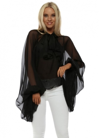 Black Pussy Bow Exaggerated Sleeve Blouse