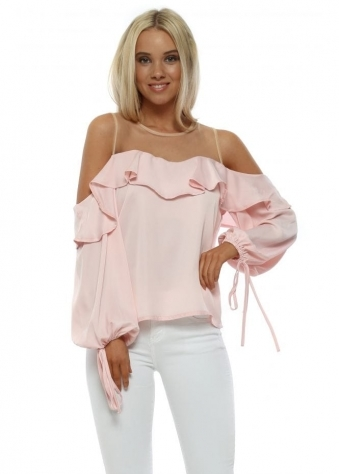 Baby Pink Sateen Ruffle Cold Shoulder Blouse