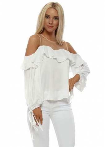 White Sateen Ruffle Cold Shoulder Blouse