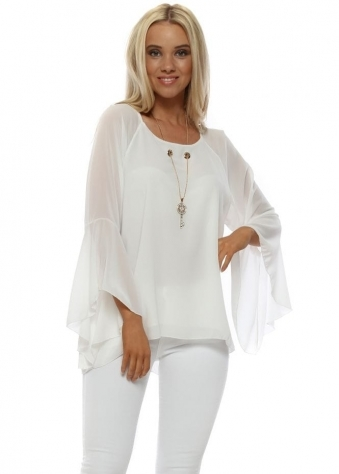 White Gold Key Necklace Blouse