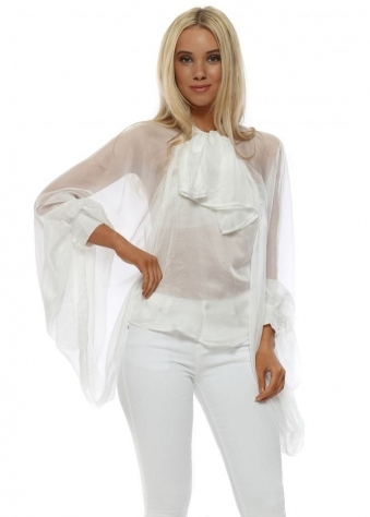 White Pussy Bow Exaggerated Sleeve Blouse