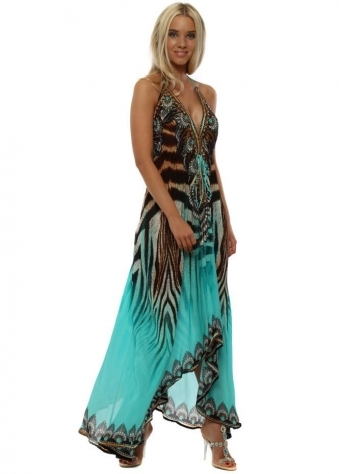 Mykonos Aqua Animal Print Crystal Halterneck Maxi Dress