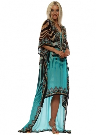 Mykonos Aqua Animal Print Hi Low Kaftan Dress