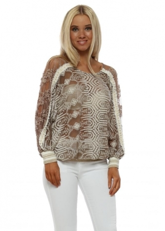 Taupe Embroidered Lace Pearl Trimmed Top