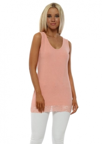 Suzy Lace Border Vest In Sorbet