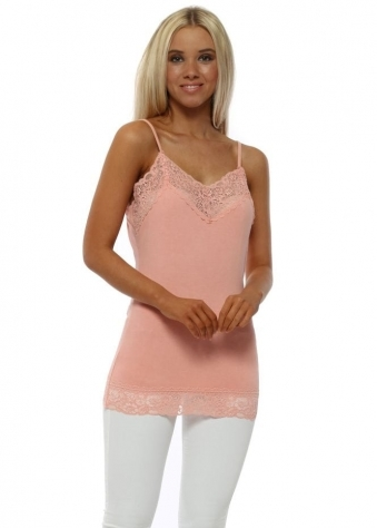 Ling Ling Lace Trim Strappy Vest In Sorbet